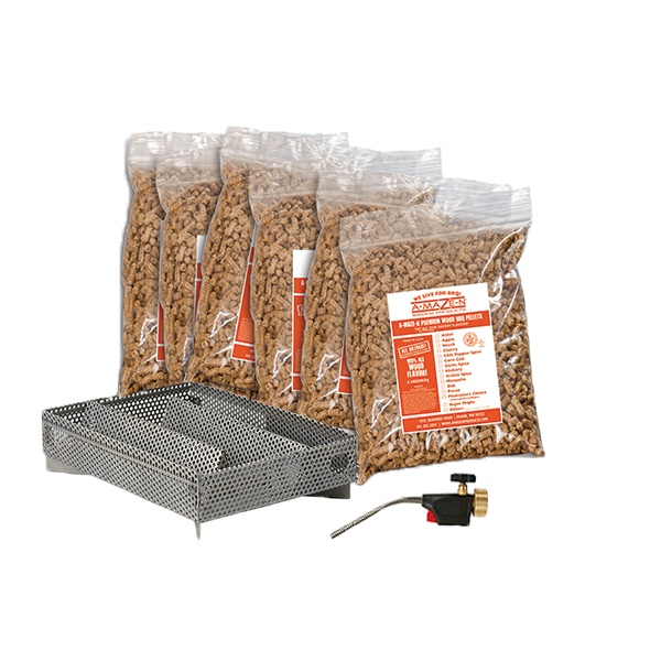 A-MAZE-N 5X8 Pellet Tray Package - with Self Igniting Torch