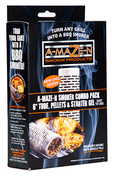 "A-MAZE-N 6 COMBO PACK - 6"" Tube Smoker, 12 oz Pitmaster Choice Pellets and Gel Fire Starter – 4 oz"