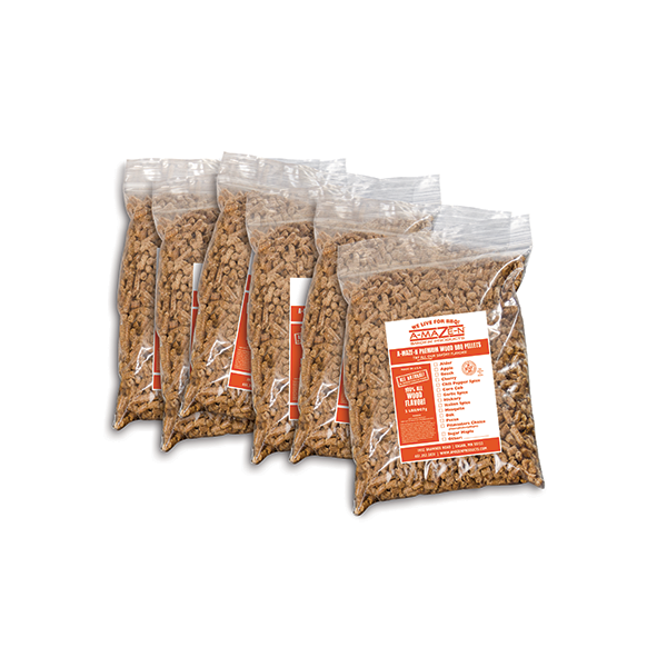 BBQ Pellet Variety Pack (1 LB) - Apple - Cherry - Hickory - Maple - Mesquite - Pitmasters Choice