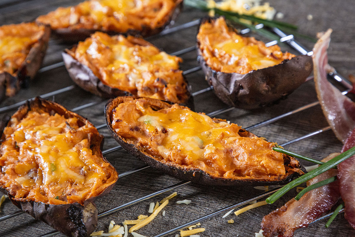 Cheesy Chive Twice Baked Sweet Potato