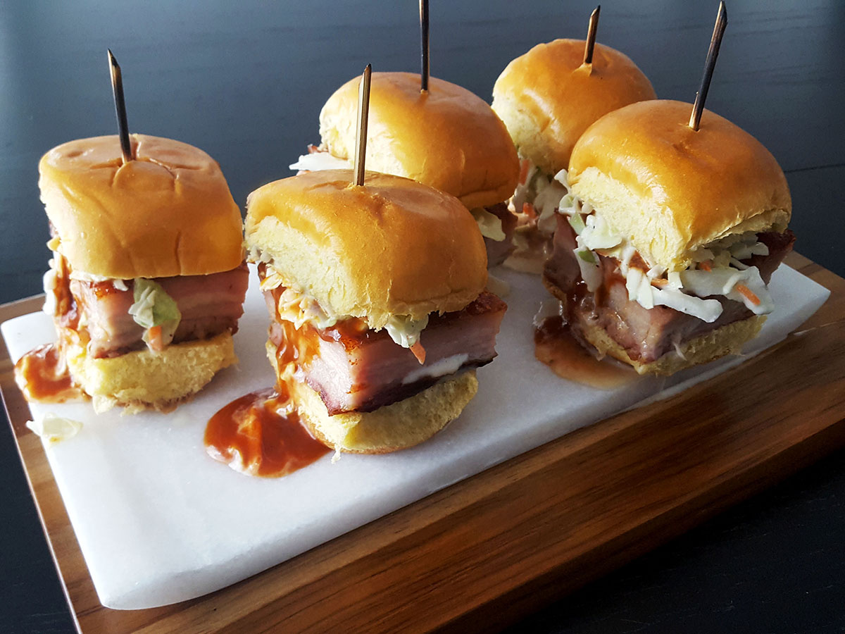 Slow Smoked Pork Belly Sliders