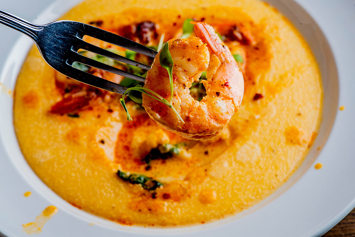 Smoked Shrimp and Grits with Cheddar Cheese