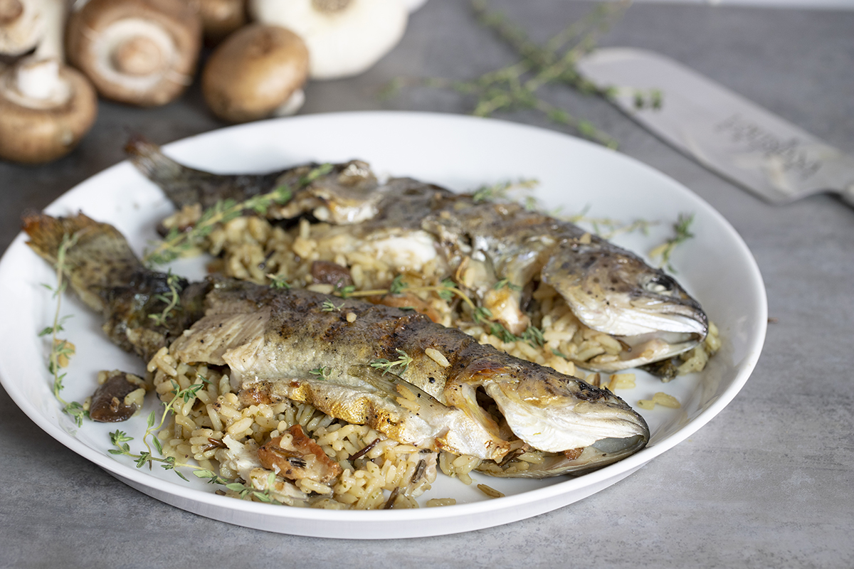 Wild Rice & Mushroom Stuffed Smoke Lake Trout