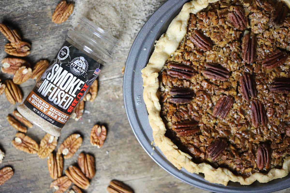 Smoked Bourbon Pecan Pie