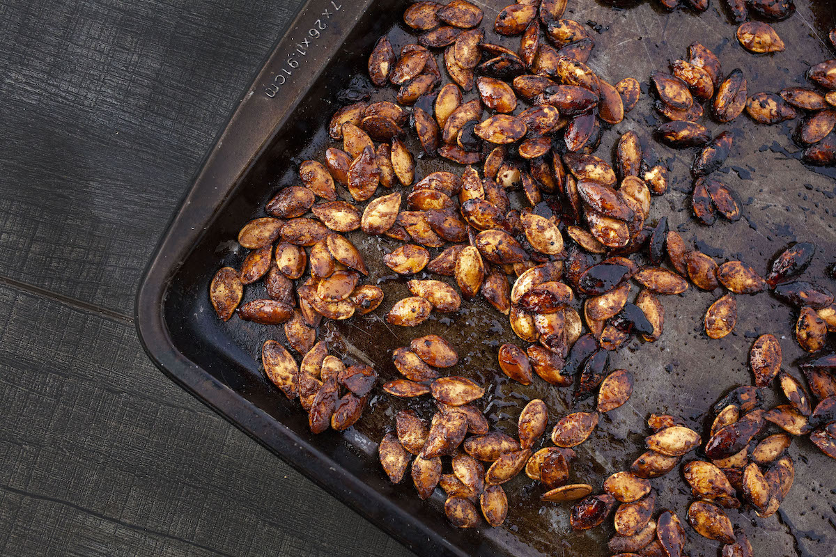 Cinnamon and Sugar Roasted Pumpkin Seeds