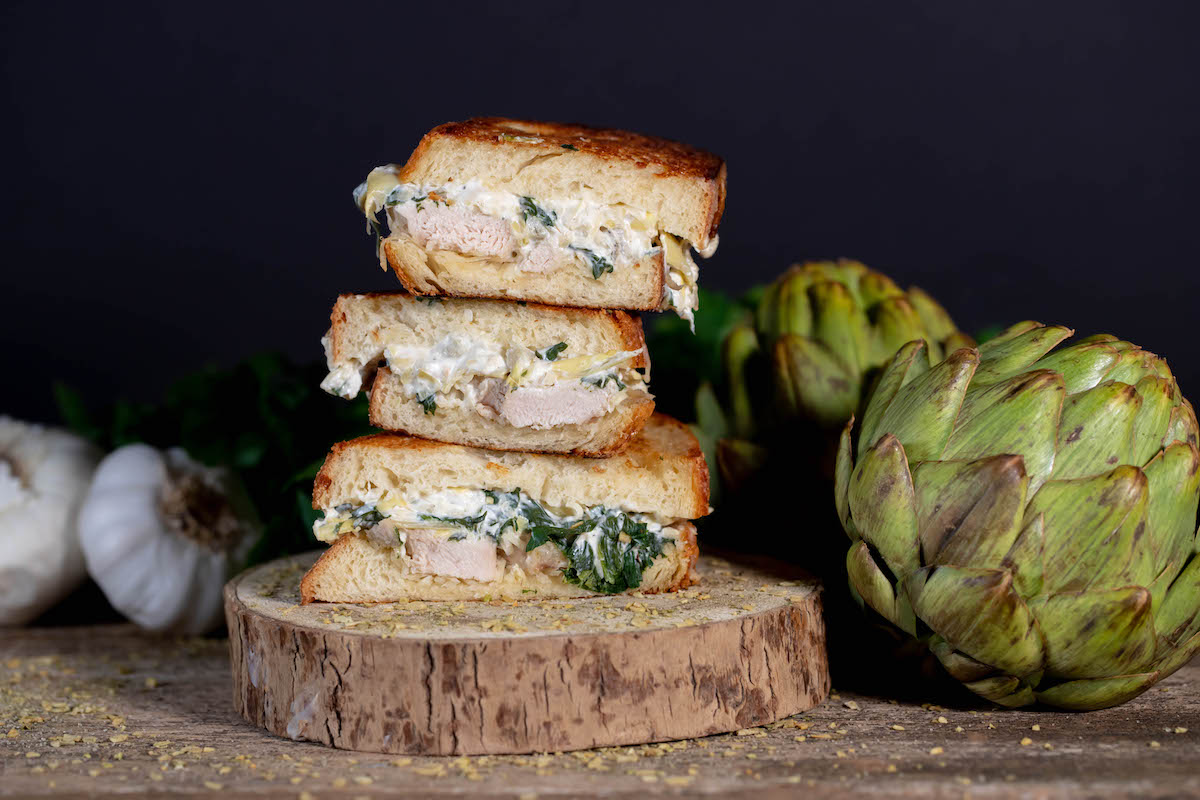 Spinach Artichoke Chicken Grilled Cheese
