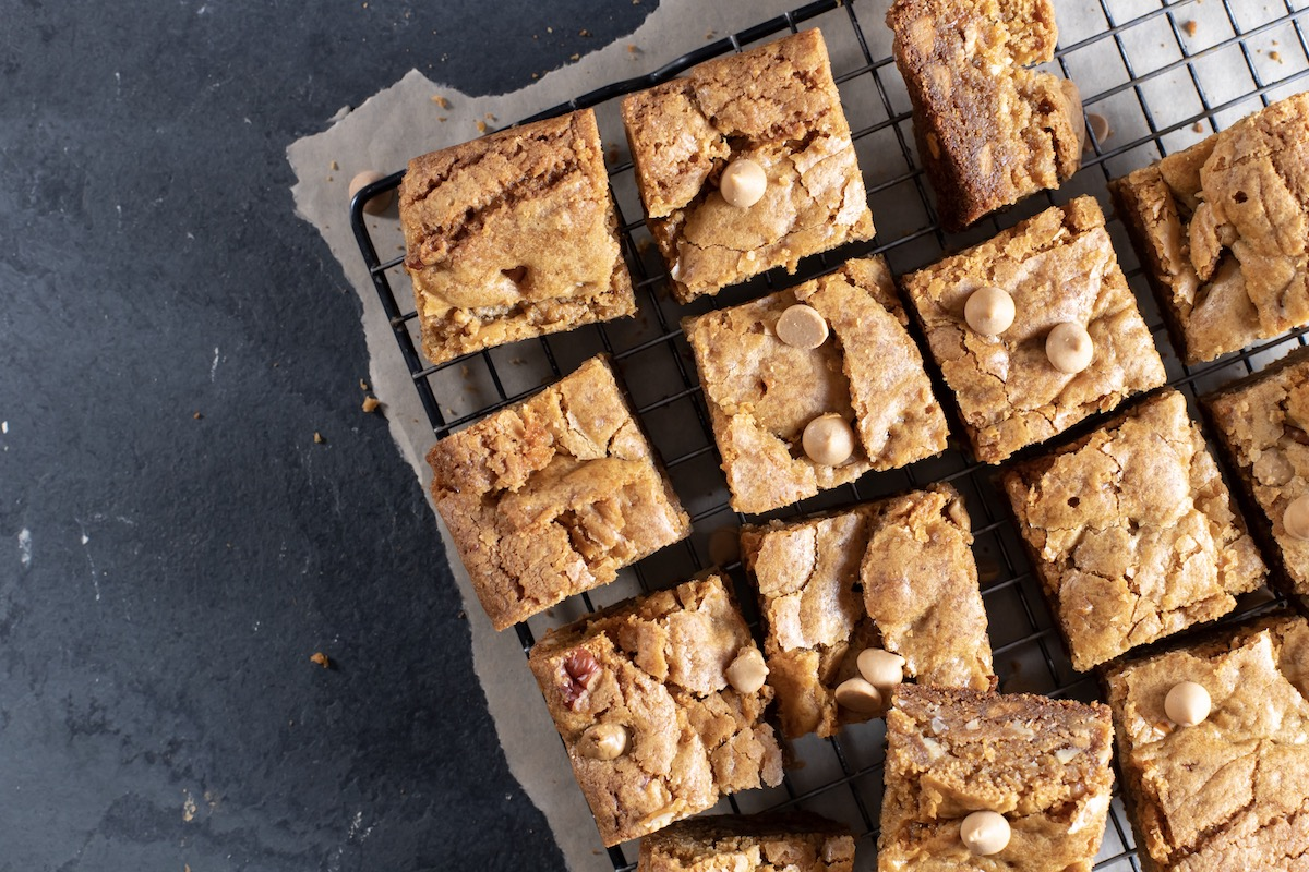 Hickory Honey Blondies with Pecans and Butterscotch