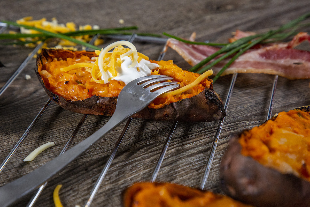 Hickory Smoked Chive and Cheese Twice Baked Sweet Potatoes