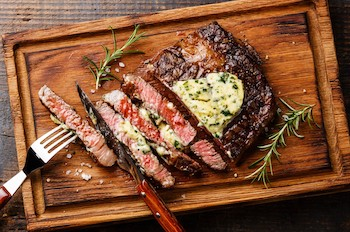 Rib-Eye Steaks with Herb Butter