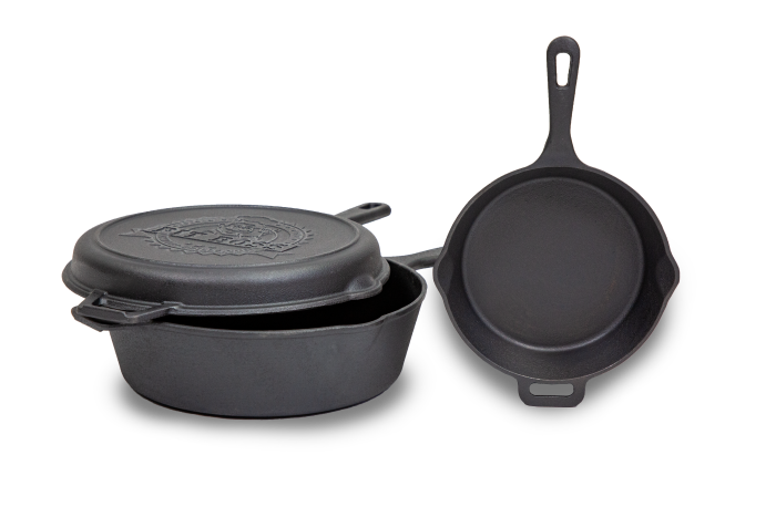 Pit Boss 14in Cast Iron Deep Skillet, Lid, and 12in Skillet